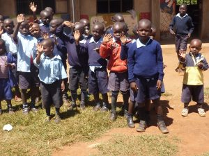 Kids waving at Rehobath PS